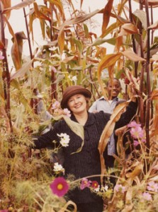 Alice Waters with student, in one of the public school gardens she helped implement