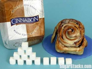 1 Cinnabon Cinnamon Roll has 55 grams of sugar and contains 813 calories, of which 220 are from sugar.