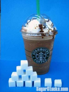Starbucks Mocha Frappuccino, 16 oz. size with whipped cream contains 47 grams of sugar and 380 total calories, of which 188 are sugar