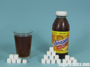 An 8 oz. serving of Snapple Lemon Iced Tea has 23 grams of sugar and contains 100 calories, of which 92 calories are from sugar. A 16 oz. bottle has 46 grams of sugar and contains 200 calories, of which 184 are from sugar.