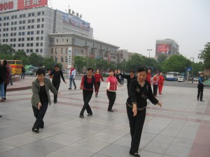 Tai chi is regularly practiced in streets and parks in China.