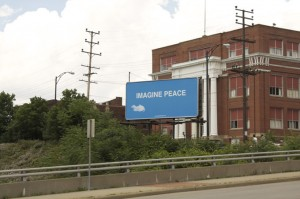 The imagine peace billboard in downtown Youngstown, Ohio