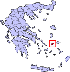Ikaria, in the small box, in relation to Greece