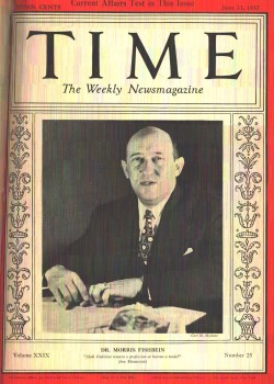 Morris Fishbein, head of the AMA from 1924 - 1949, on the cover of Time magazine in 1937