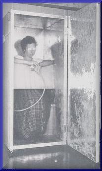 A person standing inside an orgone box