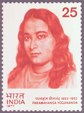 The commemorative stamp issued by India in honor of Yogananda