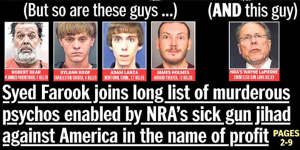 "The NY Daily News cover of Friday, Dec. 4, 2015 in which they call the mass shooters and Wayne LaPierre ""Terrorists"""