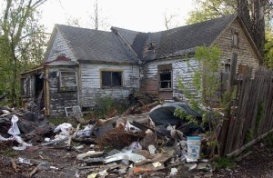 One of the many abandoned homes in Flint