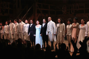 """NEW YORK, NY - AUGUST 06:  Cast of Hamilton perform at """"Hamilton"""" Broadway Opening Night at Richard Rodgers Theatre on August 6, 2015 in New York City.  (Photo by Neilson Barnard/Getty Images)"""